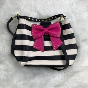 Betsey Johnson Pink Bow Black White Stripe Purse